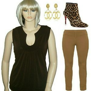 2x Brown sleeveless Goddess Top